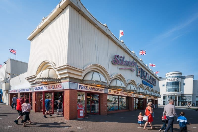 Photograph of Silcock's Funland amusement arcade at Southport Pier, Southport, Merseyside.