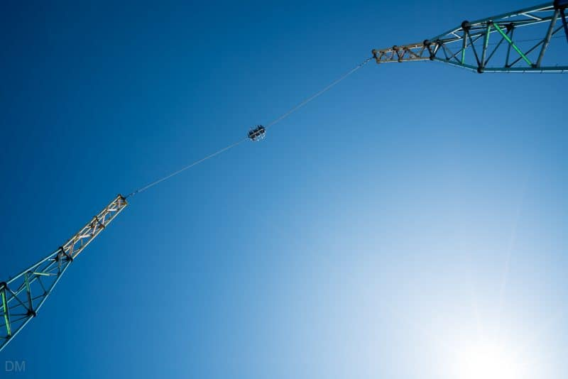 Photograph of the Skyscreamer bungee ride at South Pier Blackpool.