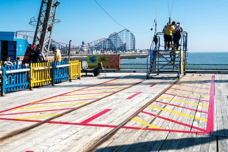 Photograph of preparations underway at Skycoaster ride, South Pier Blackpool.