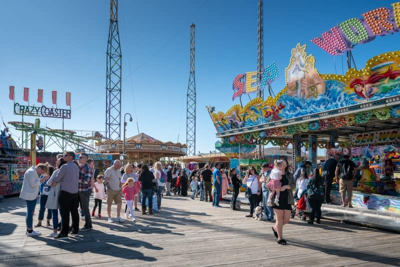 Photograph showing various rides at South Pier Blackpool, Lancashire.