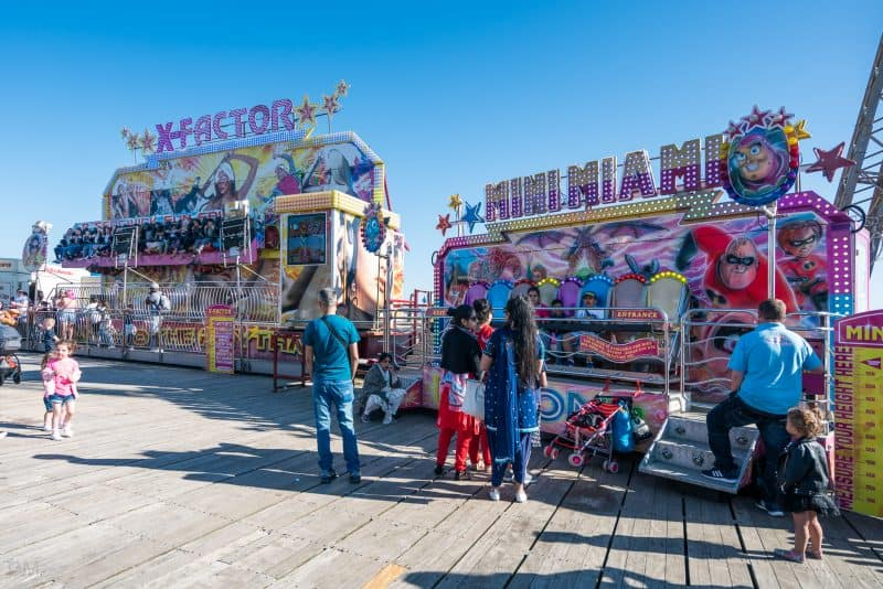 Photograph of X-Factor and Mini Miami rides at South Pier Blackpool.