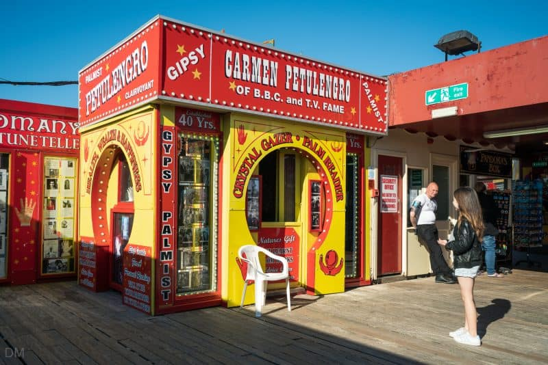 Photograph of fortune teller booth (Carmen Petulengro) at South Pier Blackpool.